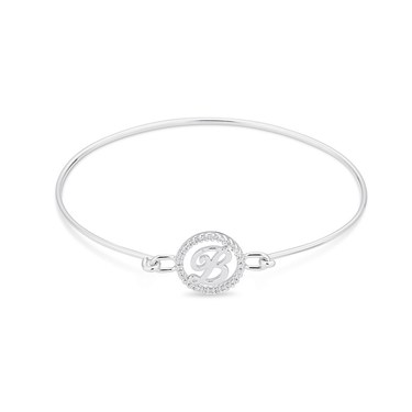 August Woods Silver Crystal B Initial Bangle  - Click to view larger image