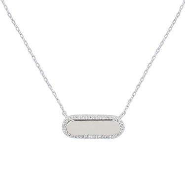August Woods Silver Crystal Bar Necklace  - Click to view larger image