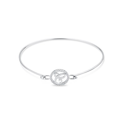 August Woods Silver Crystal C Initial Bangle  - Click to view larger image