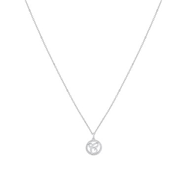 August Woods Silver Crystal C Initial Necklace  - Click to view larger image