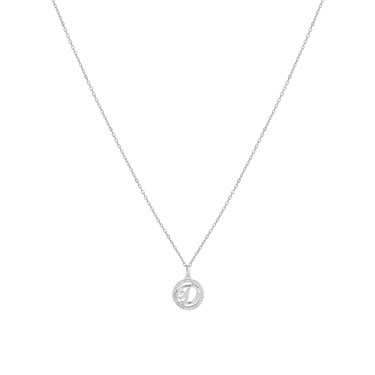 August Woods Silver Crystal D Initial Necklace  - Click to view larger image