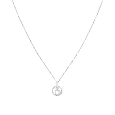August Woods Silver Crystal E Initial Necklace  - Click to view larger image