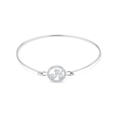 August Woods Silver Crystal H Initial Bangle  - Click to view larger image