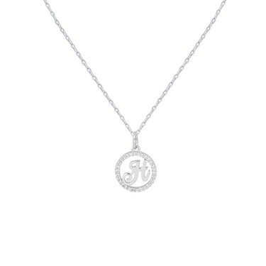August Woods Silver Crystal H Initial Necklace  - Click to view larger image