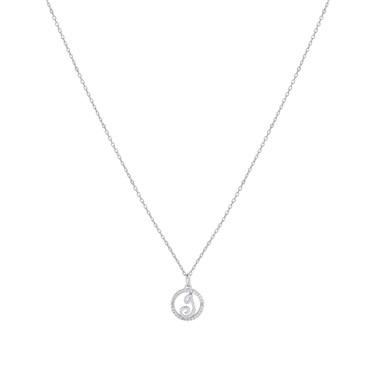 August Woods Silver Crystal J Initial Necklace  - Click to view larger image