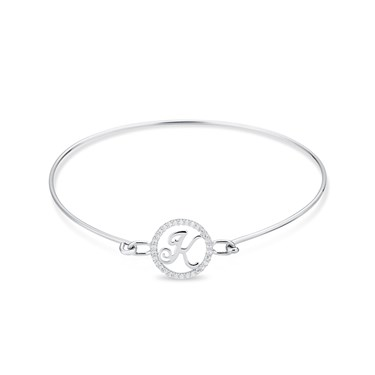 August Woods Silver Crystal K Initial Bangle  - Click to view larger image