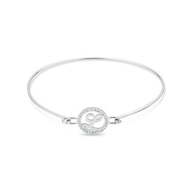 August Woods Silver Crystal L Initial Bangle  - Click to view larger image