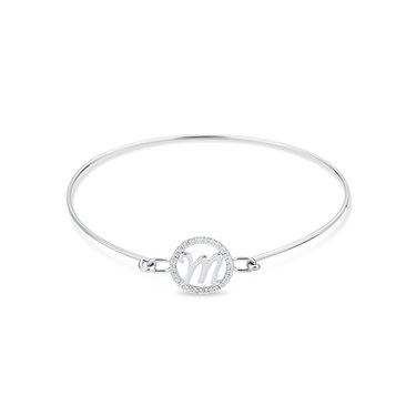 August Woods Silver Crystal M Initial Bangle  - Click to view larger image