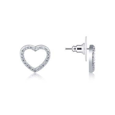 August Woods Silver CZ Open Heart Stud Earring  - Click to view larger image