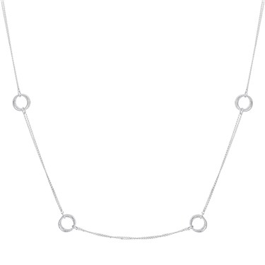 August Woods Silver Crystal Pavé Circle Long Necklace  - Click to view larger image