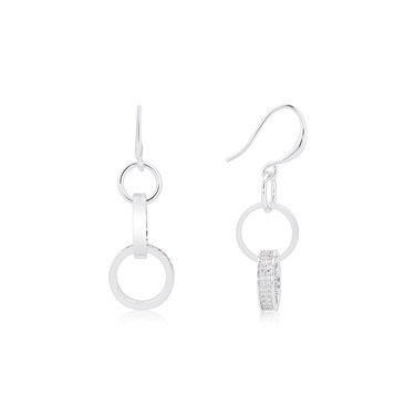 August Woods Silver Crystal Pavé Drop Circle Earrings  - Click to view larger image