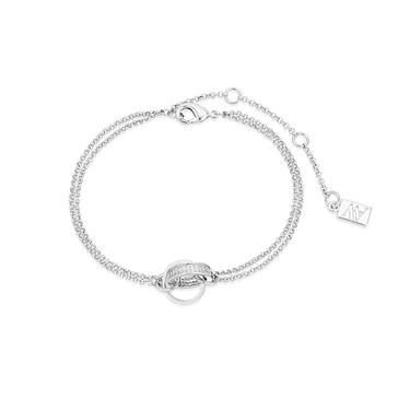 August Woods Silver Crystal Pavé Interlink Bracelet  - Click to view larger image