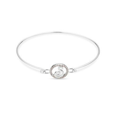 August Woods Silver Crystal S Initial Bangle  - Click to view larger image