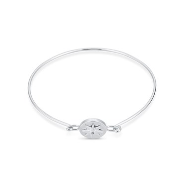 Dirty Ruby Silver Crystal Star Closed Bangle  - Click to view larger image