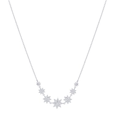 Dirty Ruby Silver Crystal Stars Necklace  - Click to view larger image