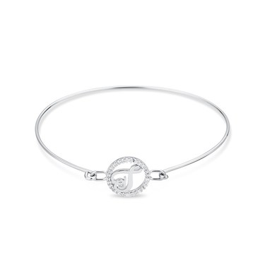 August Woods Silver Crystal T Initial Bangle  - Click to view larger image