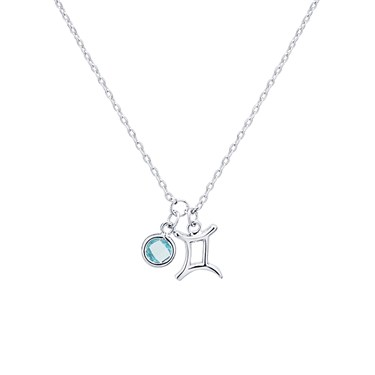 Dirty Ruby Silver Gemini Blue Crystal Necklace  - Click to view larger image
