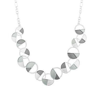 August Woods Silver Grey Multi Circle Necklace  - Click to view larger image