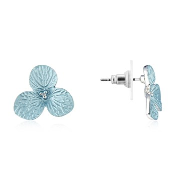 August Woods Silver Grey White Flower Earrings  - Click to view larger image
