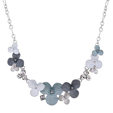 August Woods Silver Grey White Flower Necklace  - Click to view larger image