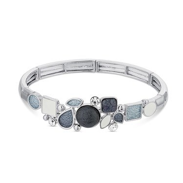 August Woods Silver Grey White Pebble Bracelet  - Click to view larger image