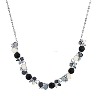August Woods Silver Grey White Pebble Necklace  - Click to view larger image