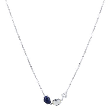 August Woods Silver Lapis Night Mix Necklace  - Click to view larger image