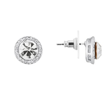 August Woods Silver Large Crystal Halo Stud Earrings  - Click to view larger image