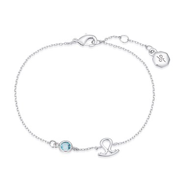 Dirty Ruby Silver Libra Blue Crystal Bracelet  - Click to view larger image