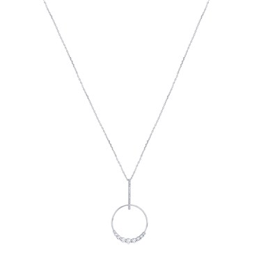 August Woods Silver Line Drop Hoop Crystal Necklace  - Click to view larger image