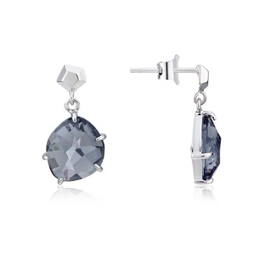 August Woods Silver Night Glass Drop Earrings  - Click to view larger image