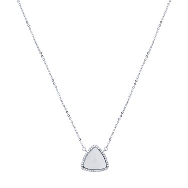 August Woods Silver Opal Crystal Outline Necklace  - Click to view larger image