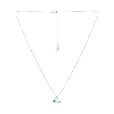 Dirty Ruby Silver Pisces Blue Crystal Necklace  - Click to view larger image
