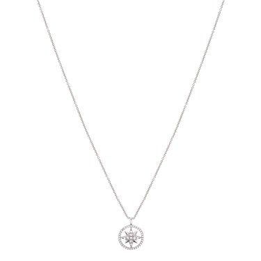 Dirty Ruby Silver Crystal Star in Circle Necklace  - Click to view larger image