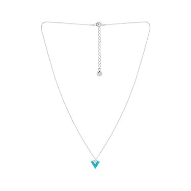 Dirty Ruby Silver Turquoise Triangle Drop Necklace  - Click to view larger image