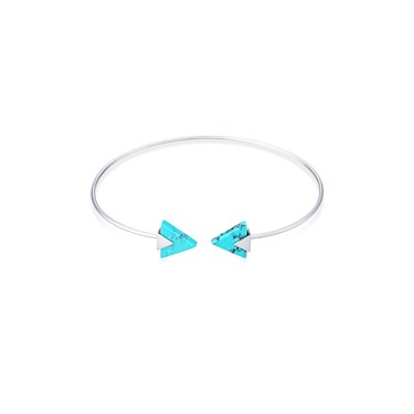 Dirty Ruby Silver Turquoise Triangle Ended Bangle  - Click to view larger image