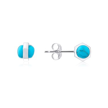 Dirty Ruby Silver Turquoise Ball Earring  - Click to view larger image
