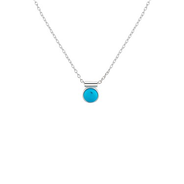 Dirty Ruby Silver Turquoise Ball Necklace  - Click to view larger image