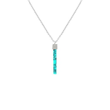Dirty Ruby Silver Turquoise Drop Line Necklace  - Click to view larger image