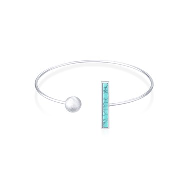 Dirty Ruby Silver Turquoise Open Bangle  - Click to view larger image