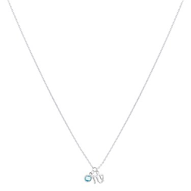 Dirty Ruby Silver Virgo Blue Crystal Necklace  - Click to view larger image