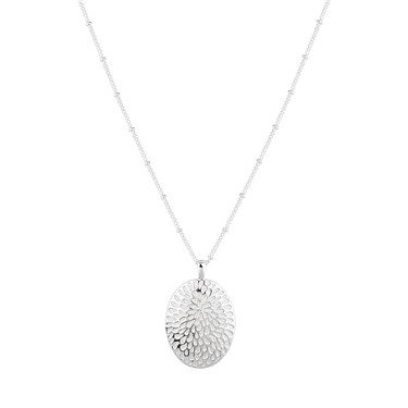 August Woods Silver White Oval Necklace  - Click to view larger image
