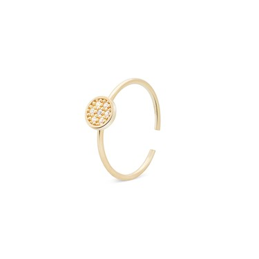 Storie  Gold Crystal Circle Charm Ring  - Click to view larger image