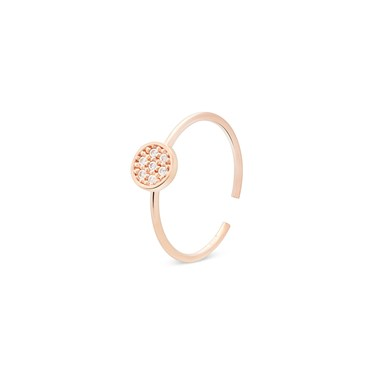 Storie  Rose Gold Crystal Circle Charm Ring  - Click to view larger image