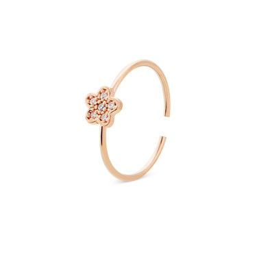 Storie  Rose Gold Crystal Flower Charm Ring  - Click to view larger image