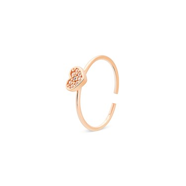 Storie  Rose Gold Crystal Heart Charm Ring  - Click to view larger image