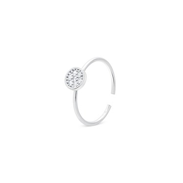 Storie  Silver Crystal Circle Charm Ring  - Click to view larger image