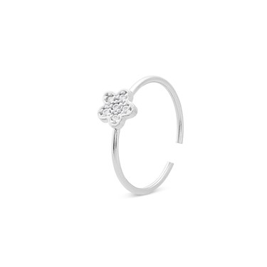 Storie  Silver Crystal Flower Charm Ring  - Click to view larger image