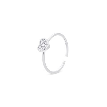 Storie  Silver Crystal Heart Charm Ring  - Click to view larger image