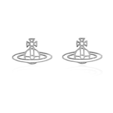 Vivienne Westwood Silver Thin Lines Stud Earrings  - Click to view larger image